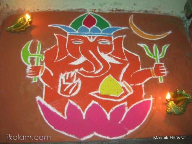 This Rangoli was made on Dhanteras,This is to signify that on all the occassion the first diety to be worshipped Lord Shree Ganesh.The Same Hindu Mythology i had choosen to draw Lord Shree Ganesh    Initially, I had drawn the outer line with Chalk & added colours to all the parts according to my choice Smile