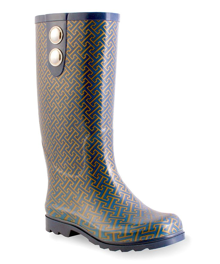 Take a look at this Nomad Footwear Navy & Gold Puddles Hatch Button-Accent  Rain Boot today!
