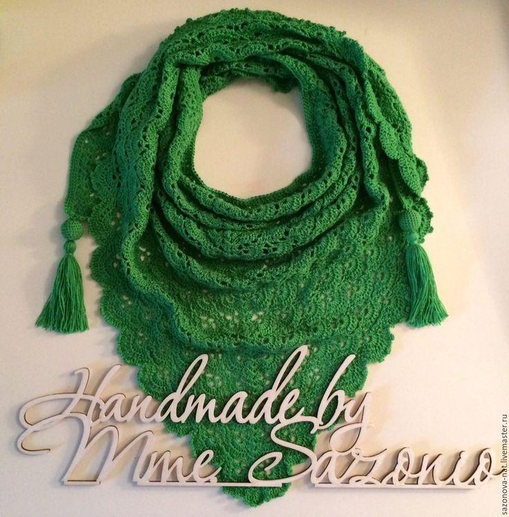 Купить Бактус из микрофибры - зеленый, однотонный, бактус, бактус вязаный, платок, платок на шею