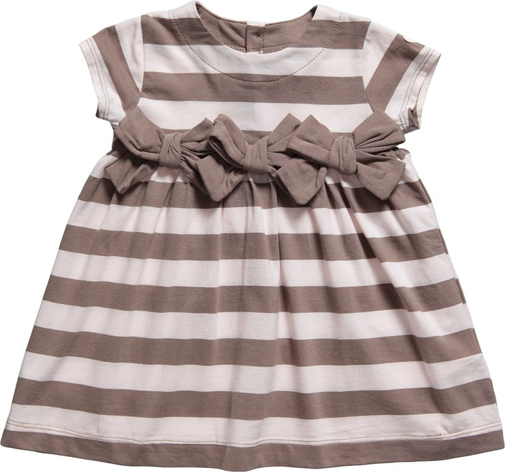 Girls Light Pink & Taupe Stripe Cotton 2 Piece Set with Bows - Outfits - Baby | Childrensalon
