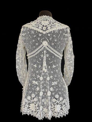 Edwardian Jacket Irish Crochet Tunic Antique Lace Bridal XS S   eBay