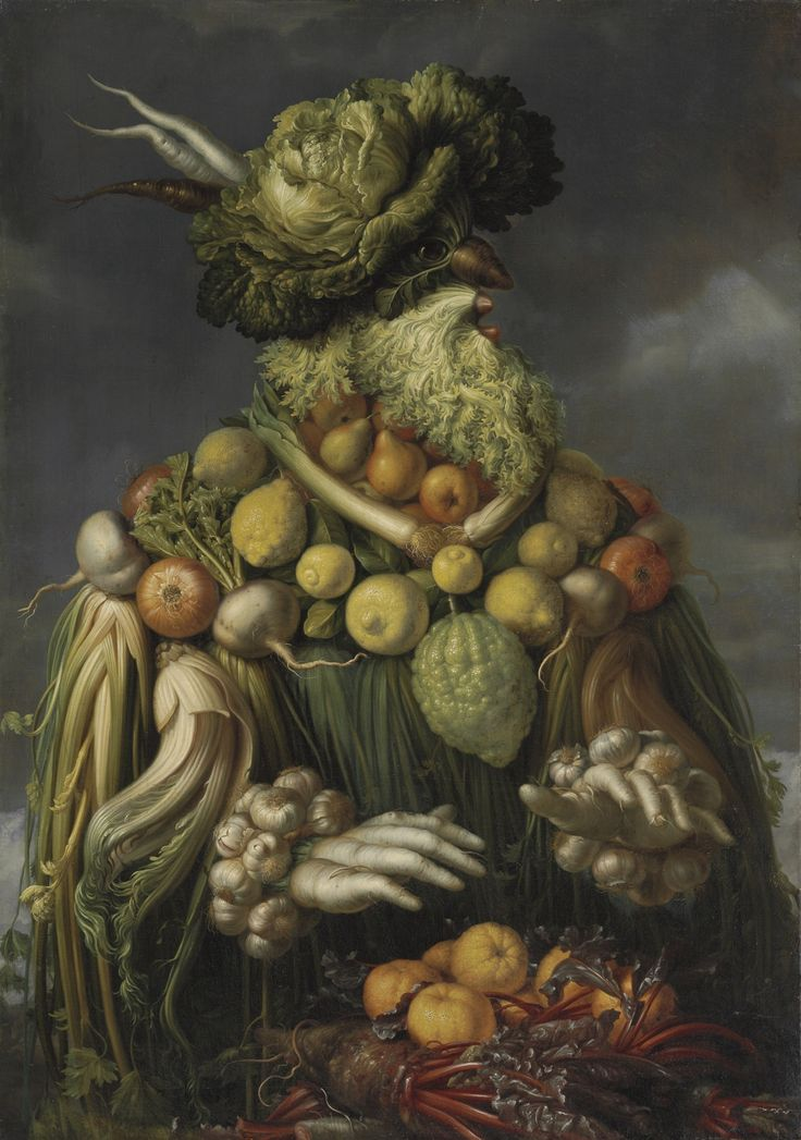 FOLLOWER OF GIUSEPPE ARCIMBOLDO FOUR ANTHROPOMORPHIC FIGURES: AN ALLEGORY OF THE FOUR SEASONS