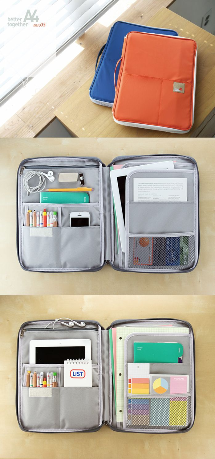 How did I ever live without this note pouch? It has sooo many pockets inside and out for everything I need for school, work and home! You can put in your iPad, tablets, 13-inch laptop, notebooks, planners, writing tools, calculator, earphones, USB, letter sized papers, magazines...whoa, I'm running out of breath! ^_^ Let's just say that there is no safer, more perfect, practical AND cute way to keep all your daily needs in one place. Everything IS better together! Learn more at…