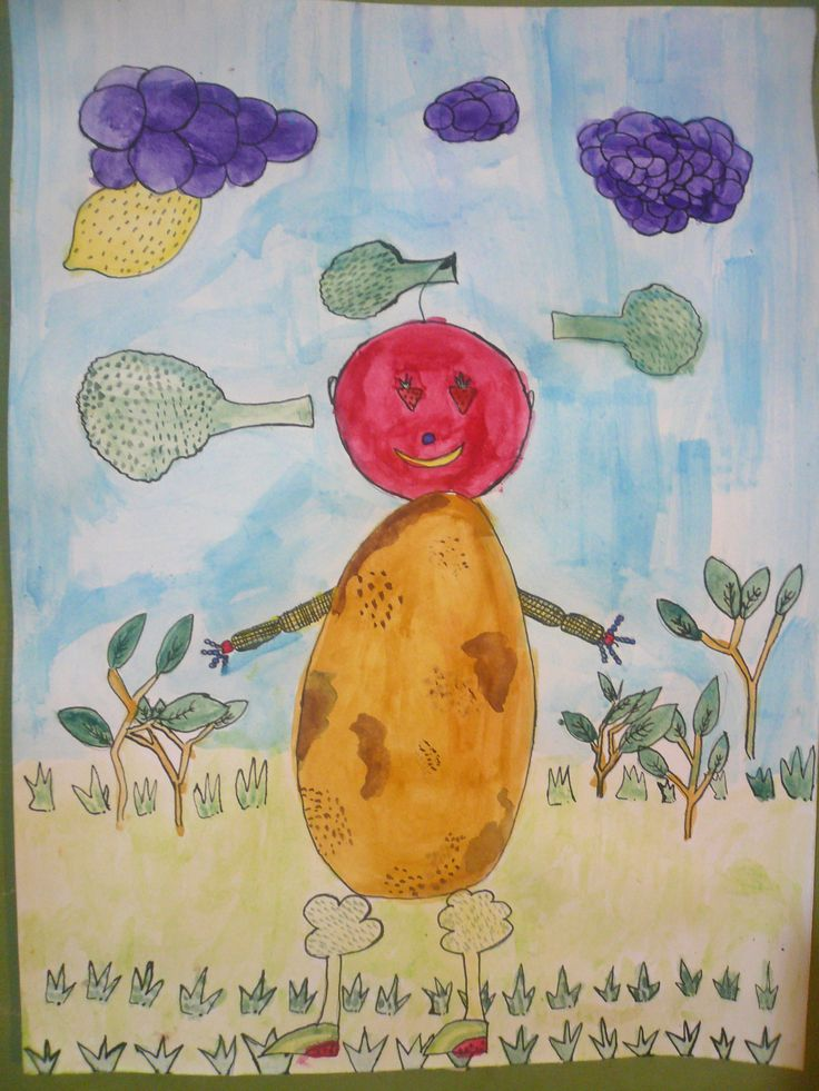 """""""Cara de frutas"""". Acuarela y tinta china. Viki M."""