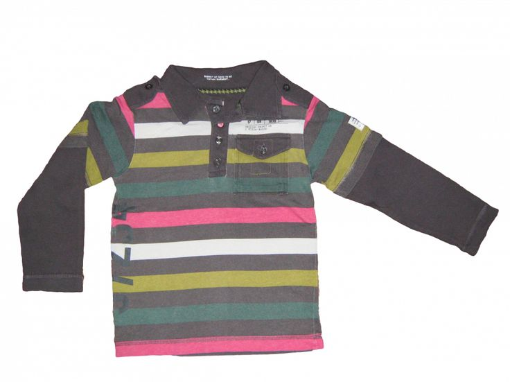 Maat 98/104 Polo met lange mouw Grijs/roze/wit/groen gestreept  Merk WE