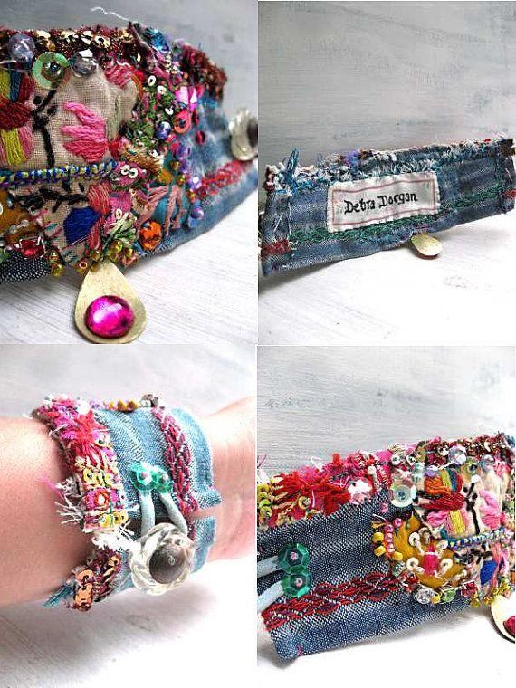 Festival Bracelet Vintage Textiles Fabric por AllThingsPretty