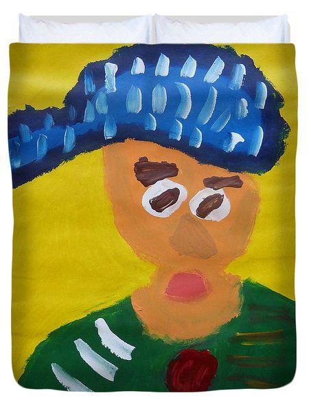 Patrick Francis Duvet Cover featuring the painting Portrait Of Camille Roulin 2015 - After Vincent Van Gogh by Patrick Francis