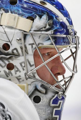 Toronto Maple Leafs goalie Frederik Anderson (31) looks on prior to the first period of an NHL hockey game against the Buffalo Sabres, Monday, April 3, 2017, in Buffalo, N.Y. (AP Photo/Jeffrey T. Barnes)