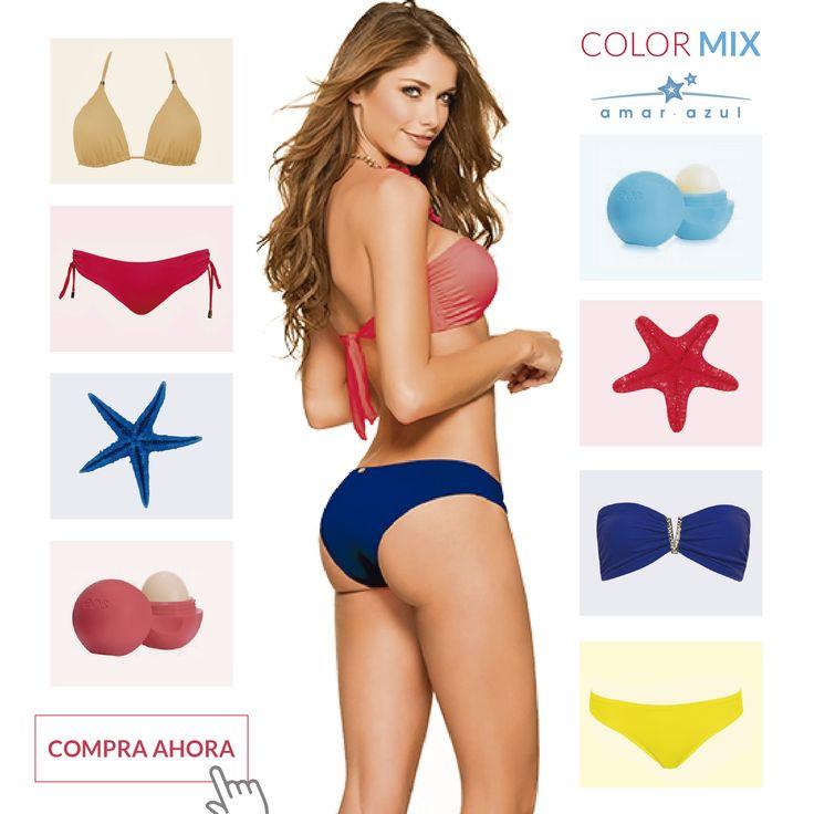 ¿Cómo te gustan? Arma tu #vestidodebaño con nuestras referencias de #colormix a tu estilo.  ¡Llévalos a un solo clic en nuestra tienda virtual, envío gratis a todo el país! #swimwear #beachwear #vestidosdebaño #bikini #amarazulswimwear #Colormix