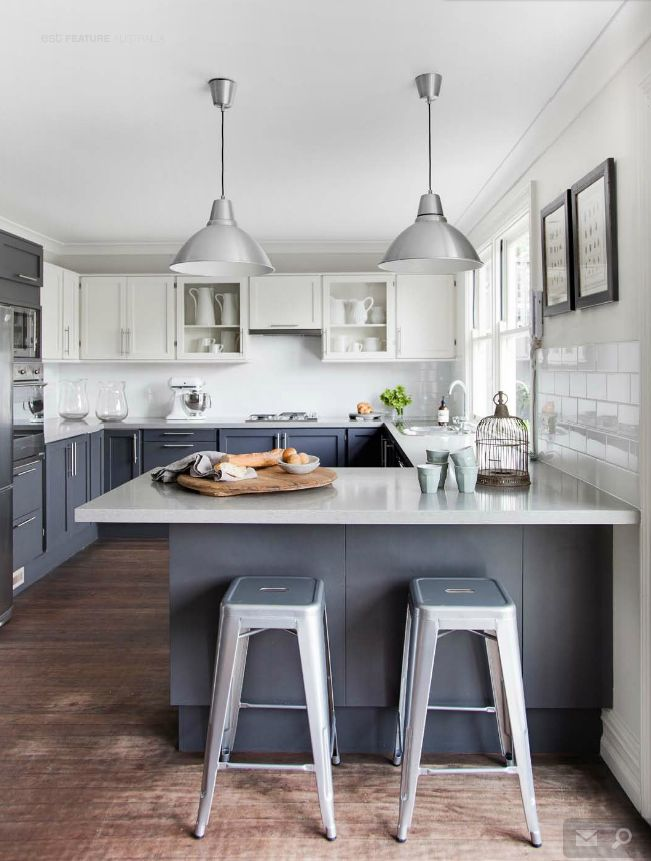 Gray-blue kitchen design