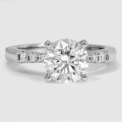 Platinum Dolce Diamond Ring // Set with a 1.56 Carat, Round, Super Ideal Cut, F Color, VVS2 Clarity Diamond #BrilliantEarth