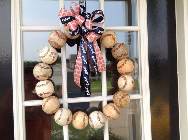 Baseball Wreath.  Go Tigers!