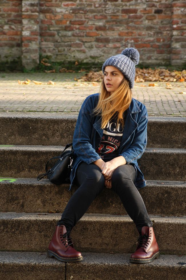 Dr. Martens and bobble hat! Nice fall and winter style but I'd replace the top with a gray tank and cheetah print cardigan