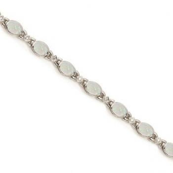 Oval Opal and Diamond Bezel Bracelet in 14K White Gold - Allurez.com