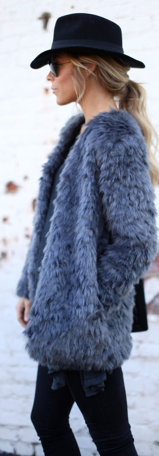 Blue Gray Faux Fur Collarless Jacket by Happily Grey