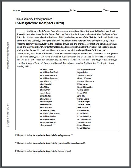 Mayflower Compact, 1620 - DBQ Worksheet - For high school U.S. History students.