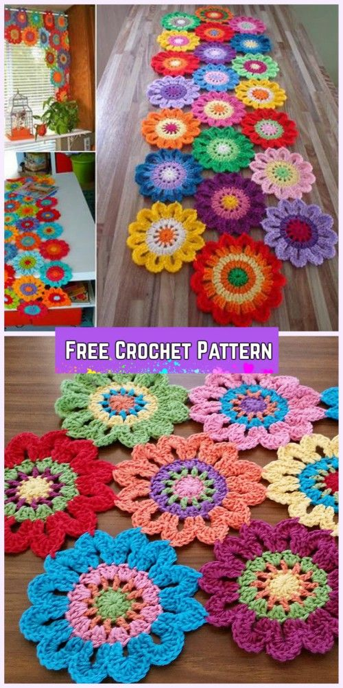 Crochet Flower Valance Curtain Free Pattern