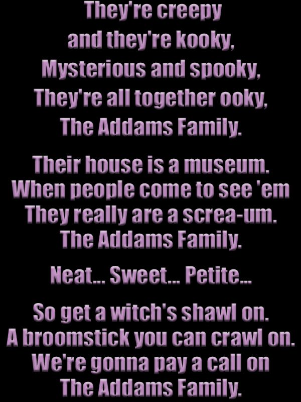 Image result for lyrics to the addams family tv show