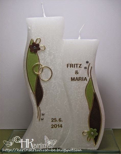 """Karins Kreativstube: Hochzeitskerze """"Maria & Fritz"""" grün/braun"""