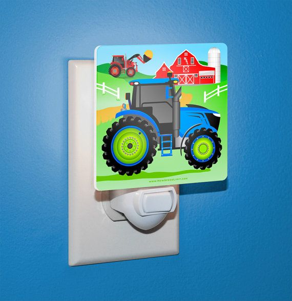 Night Light Kid's Farm Tractor Bedroom Bathroom Decor