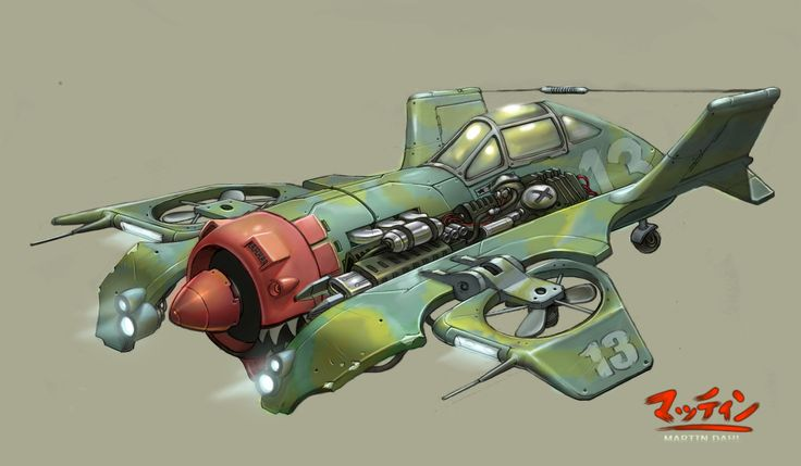 Dieselpunk vtol aircraft ✤ || CHARACTER DESIGN REFERENCES | キャラクターデザイン