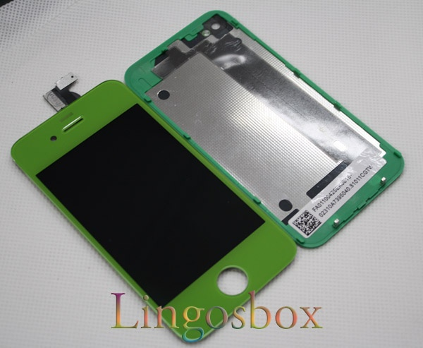 Green iPhone 4 LCD display screen with touch panel digitizer glass Assembly+Home button - $90 - http://pnetworks.com.au