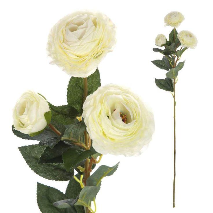 Flores artificiales online. Rama artificial con tres flores de ranúnculos blancos. Alambre en el tronco. Decorativa con aspecto natural. Alto total 73 cms.