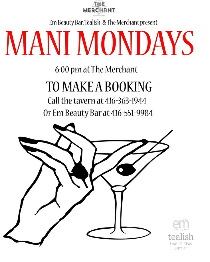 "SUMMER 2016 - ""Mani Mondays"" every Monday (6-8 pm) at The Merchant, 181 University Ave. in Toronto. Twinkle fingers can book by calling 416-363-1944 #ManicureMondays. (Thanks to partners, @EmBeautyBar and @TealishTea)"