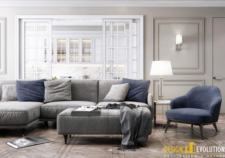 Интерьер в американской классике. Раздвижные перегородки из закаленного стекла, украшенные венецианской декоративной раскладкой, зонируют пространство гостиной и кухни.