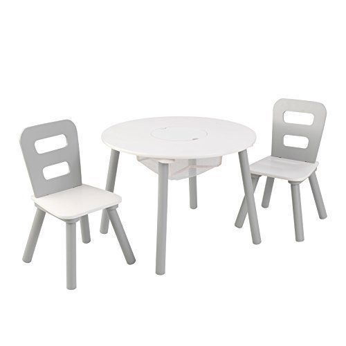 Kids Table And Chairs Set Activity Dining Room Grey Party Play Round White #Unbranded