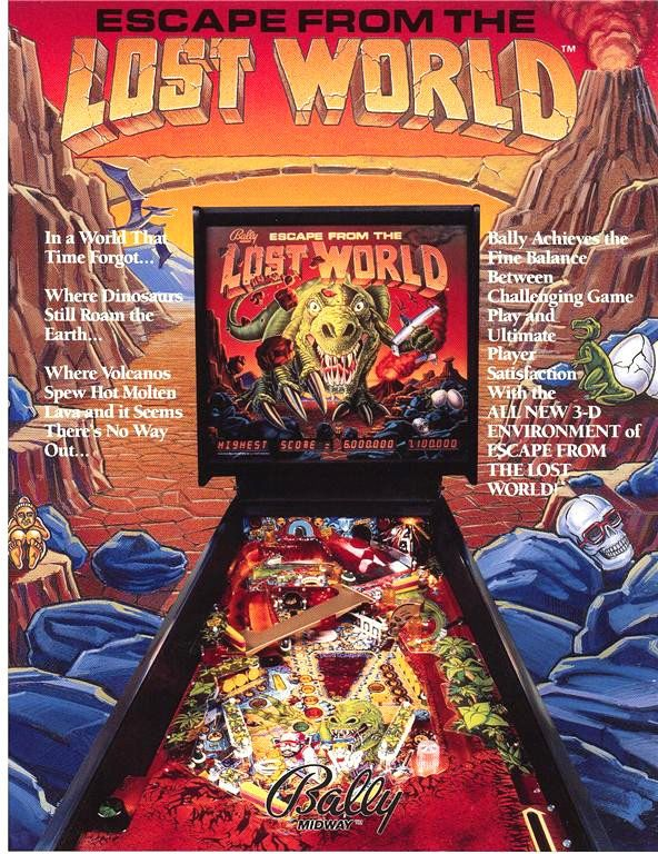 Bally Escape From The Lost World Original 1988 NOS Flipper Pinball Machine Flyer #BallyEscapeFromTheLostWorld