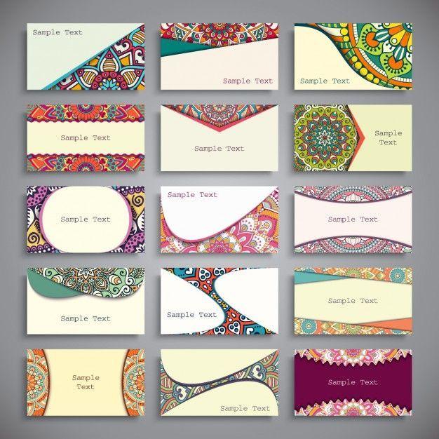 estilo Boho coleção cartões de visita Vetor grátis                                                                                                                                                                                 Mais