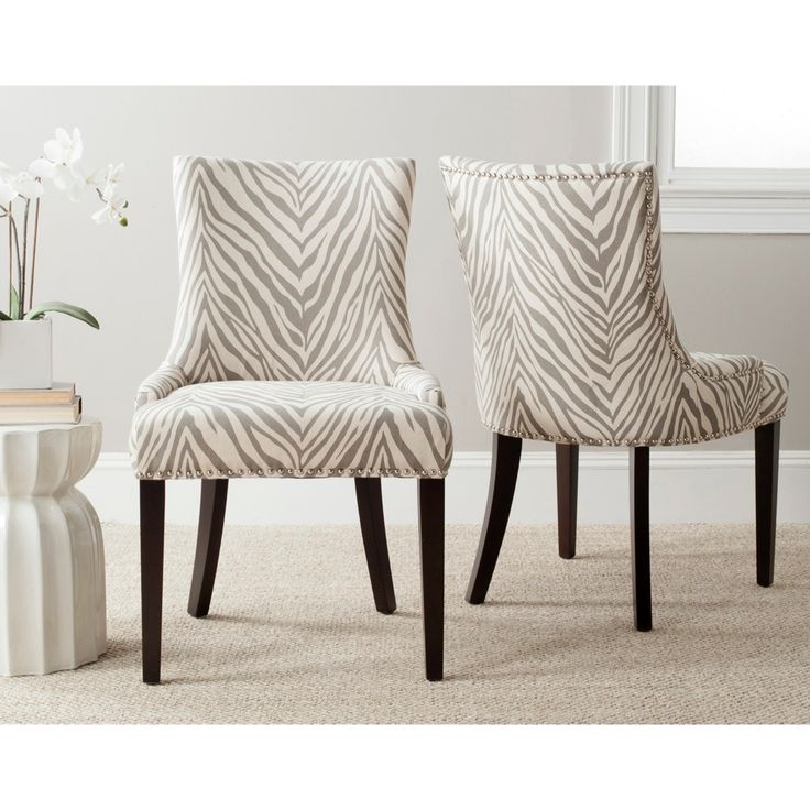 safavieh en vogue dining lester grey zebra dining chairs