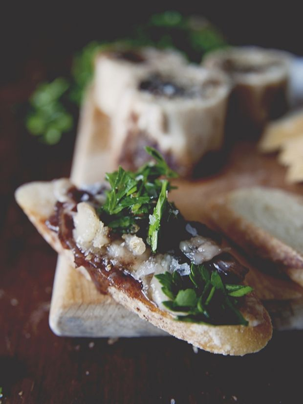 God's butter: roasted bone marrow, chimichurri salad and onion jam