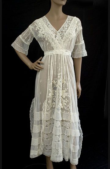 1915 cotton tulle tea dress with embroidery and lace.