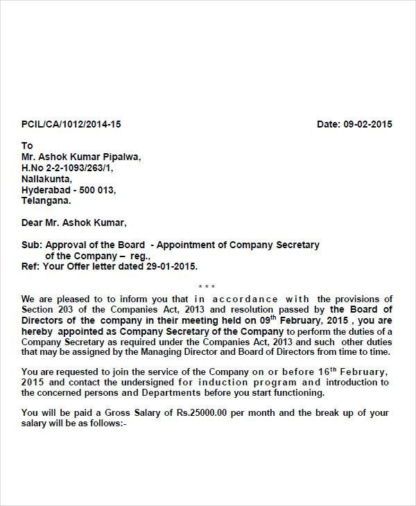 Appointment Letter Format Accountant Simple Template Word