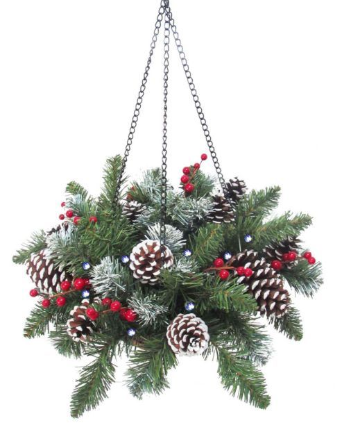 Pre Lit Cone and Berry Christmas Hanging Basket (20 LEDs)