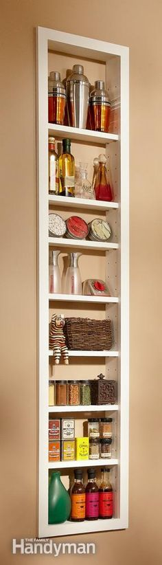 Built-In Storage - build a shelf in between studs in a wall behind a hoor