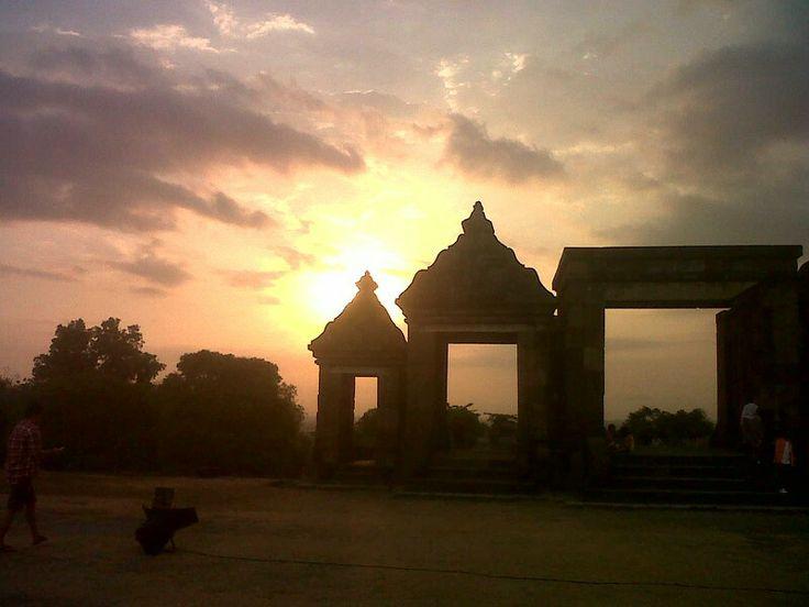 Sunset candi boko yogyakarta indonesia