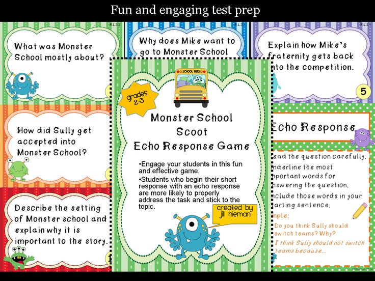 Monster School Scoot Game- teaches how to write an echo response for more accurate and complete answers to short response questions.