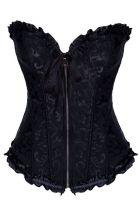 All Black Zip Front Halloween Harley Quinn Corset