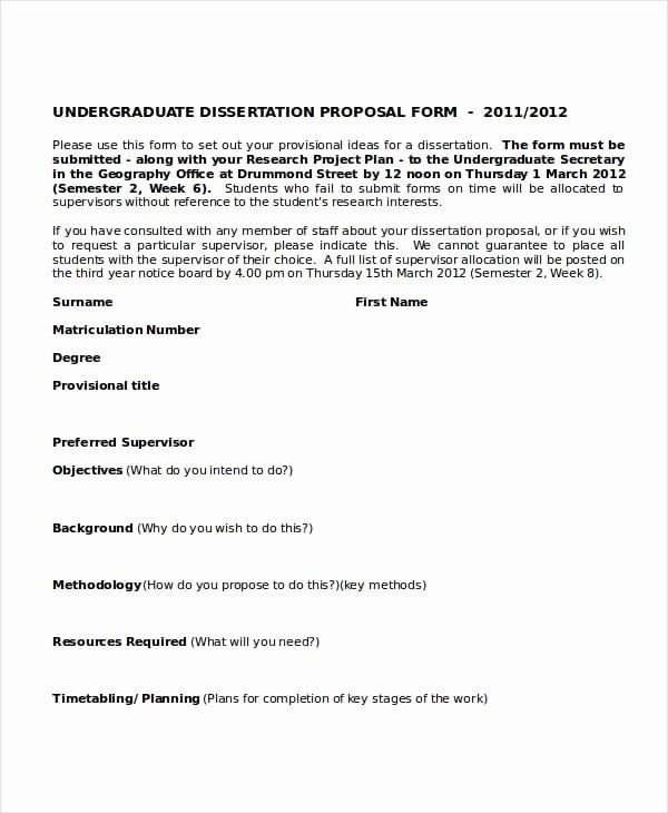 Undergraduate Research Proposal Example Beautiful Free 7 Dissertation Writing A Objective