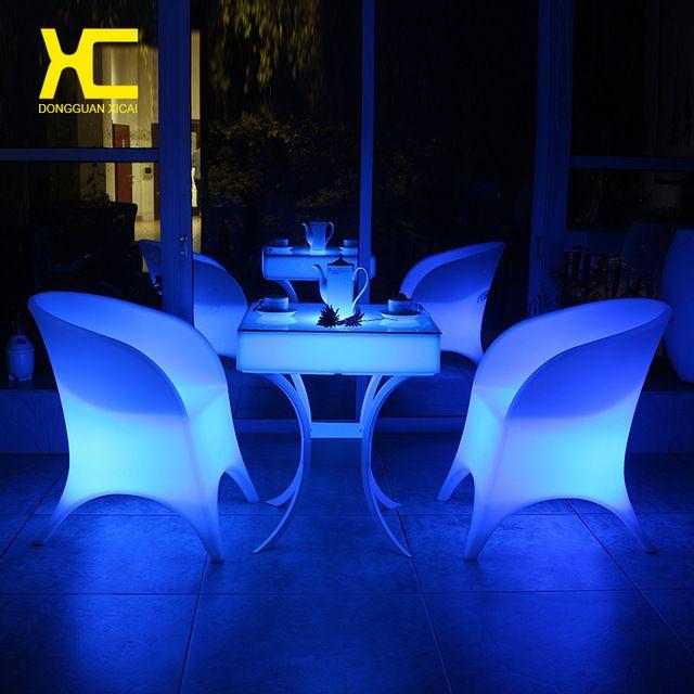 Telecomando senza fili addebitabile illuminato ha condotto sedia set incandescente mobili bar ristorante hotel home sala da pranzo sedie di plastica