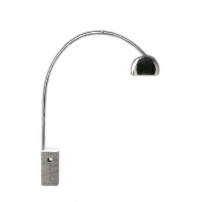 Full of contemporary charm, this floor lamp takes on a graceful, arching shape. A block of  marble anchors this stylish arc design. The elegant, domed shade and arched mount features a satin brushed chrome finish.