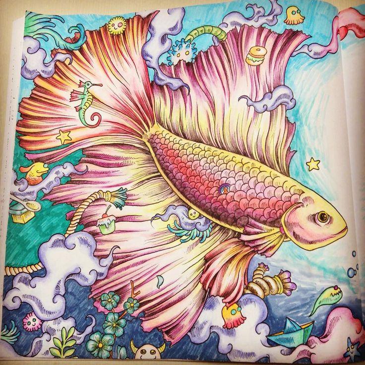 """""""眠い。限界。  #animorphia #animorphiacoloringbook #塗り絵 #大人の塗り絵 #coloringbook #コロリアージュ…"""