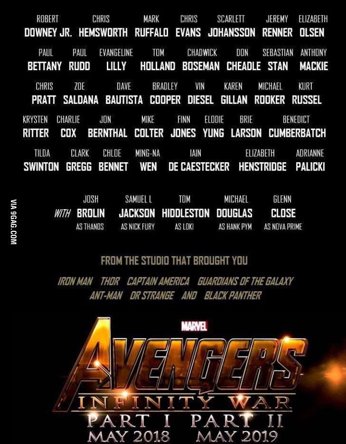 Robert Downey Jr. posted on his Fb account: the actors who will participate in Avengers : Infinity War