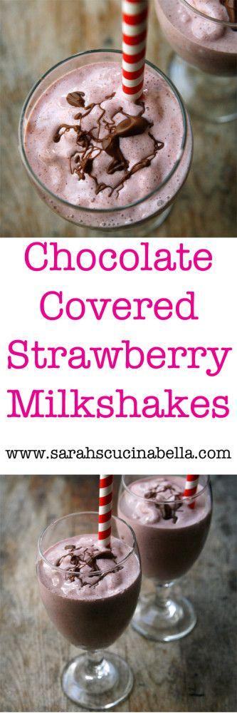 Chocolate Covered Strawberries Milkshake Recipe #DairyEnvy #sponsored