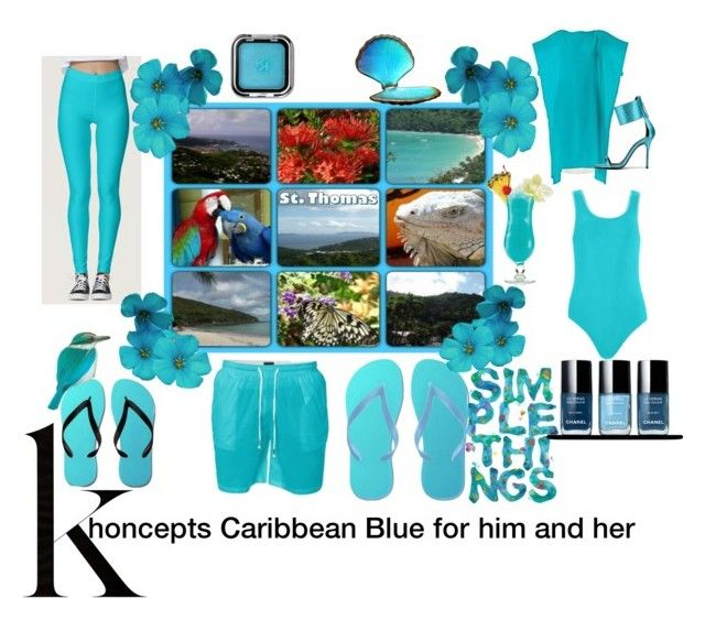 Khoncepts Caribbean Blue for him and her bathing suits and accessories.