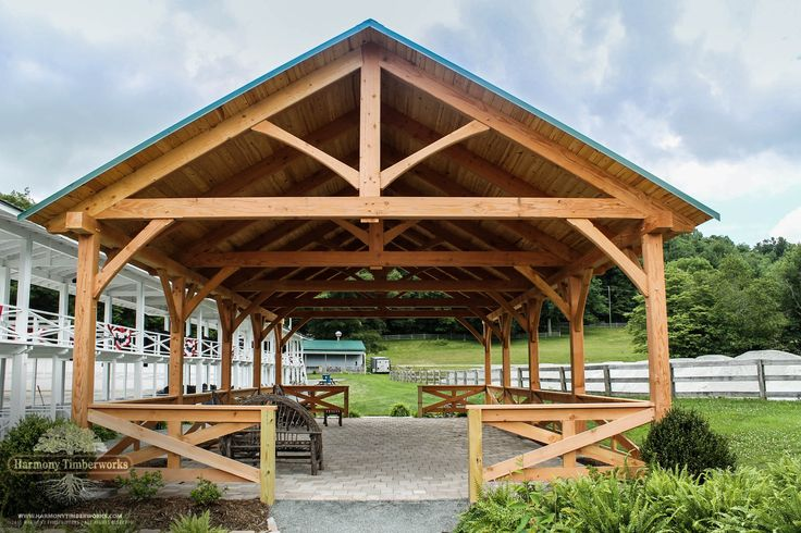 View the Blowing Rock timber frame horse pavilion. View this beautifully designed timber frame pavilion and many other timber frame designs online.