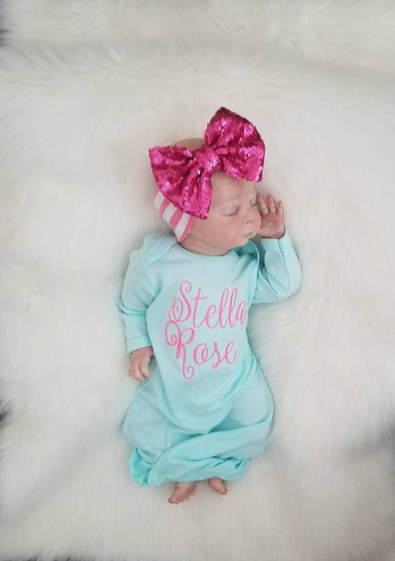 newborn hat babygown baby girl Baby Girl Gown Coming home outfit baby gown infant gown newborn newborn outfit